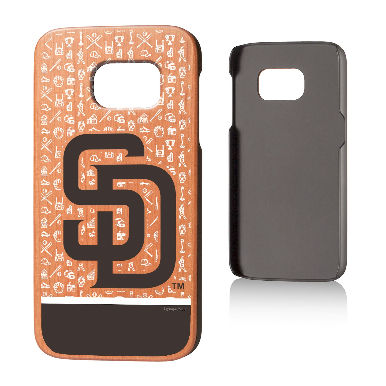 San Diego Padres Galaxy S7 Stripe Logo Cherry Wood Case