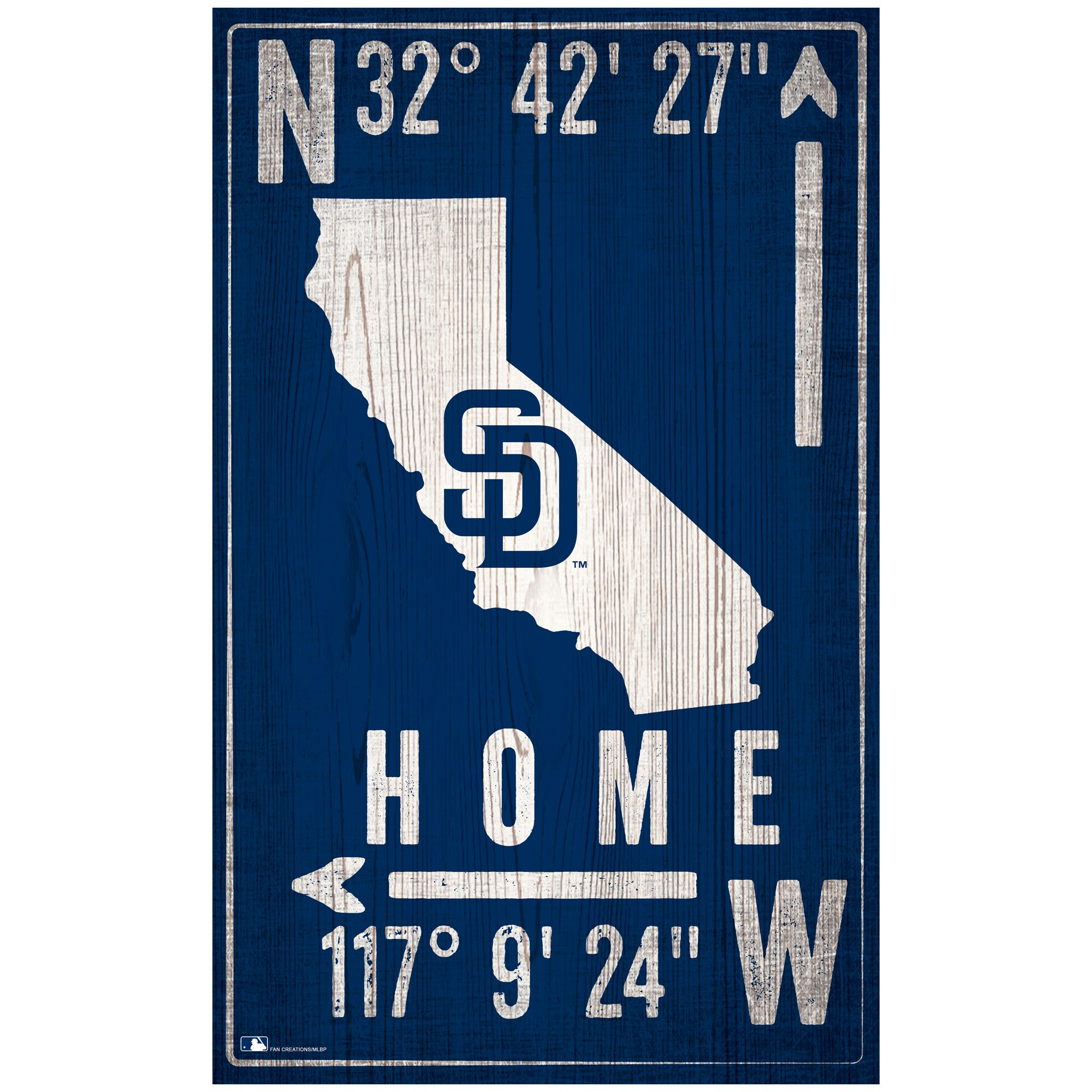 "San Diego Padres 11"" x 19"" Coordinate Sign"