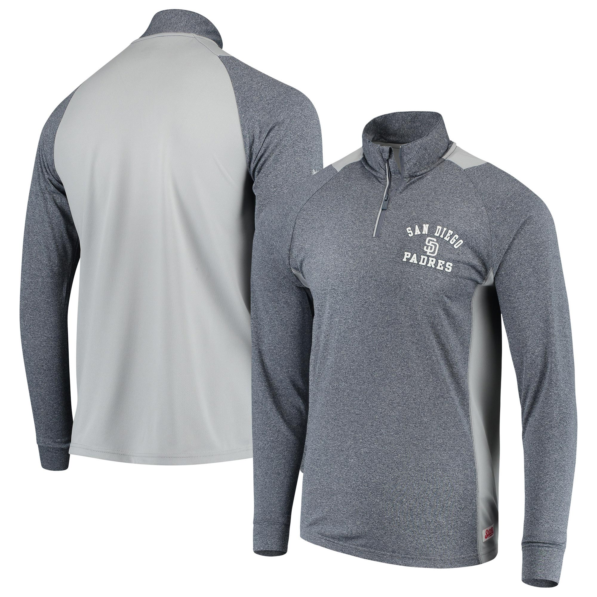 San Diego Padres Stitches Raglan Sleeve Quarter-Zip Pullover Jacket - Heathered Navy/Gray