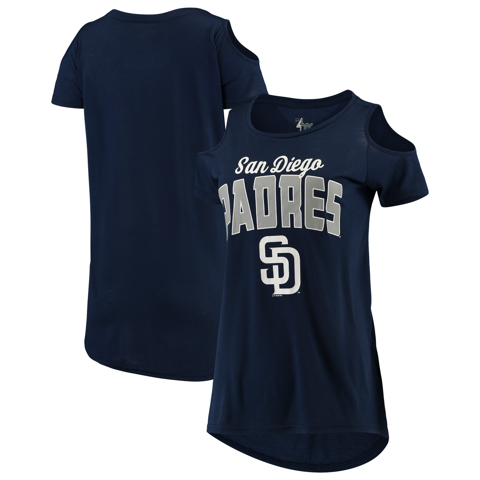 San Diego Padres G-III 4Her by Carl Banks Women's Clear the Bases Cold Shoulder T-Shirt - Navy