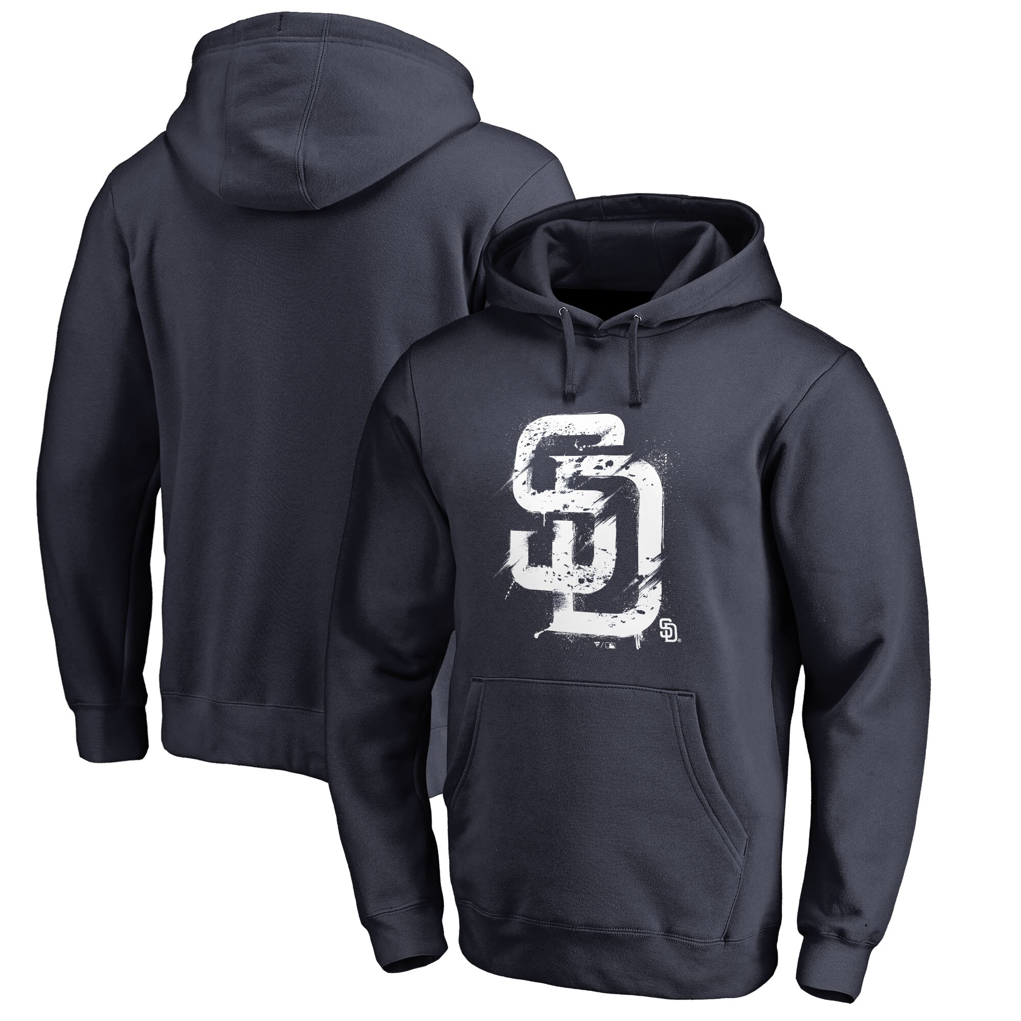San Diego Padres Fanatics Branded Splatter Logo Pullover Hoodie - Navy