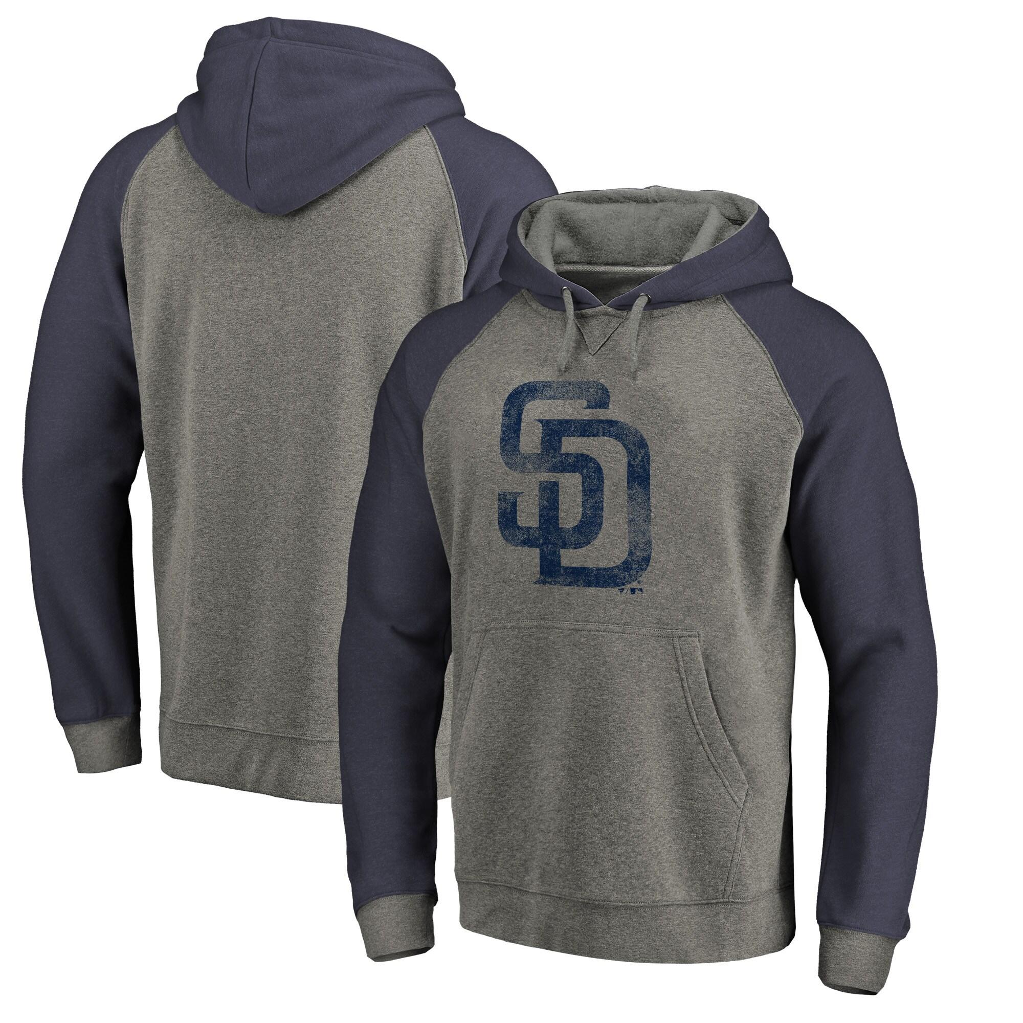 San Diego Padres Fanatics Branded Distressed Team Logo Tri-Blend Raglan Pullover Hoodie - Gray/Navy