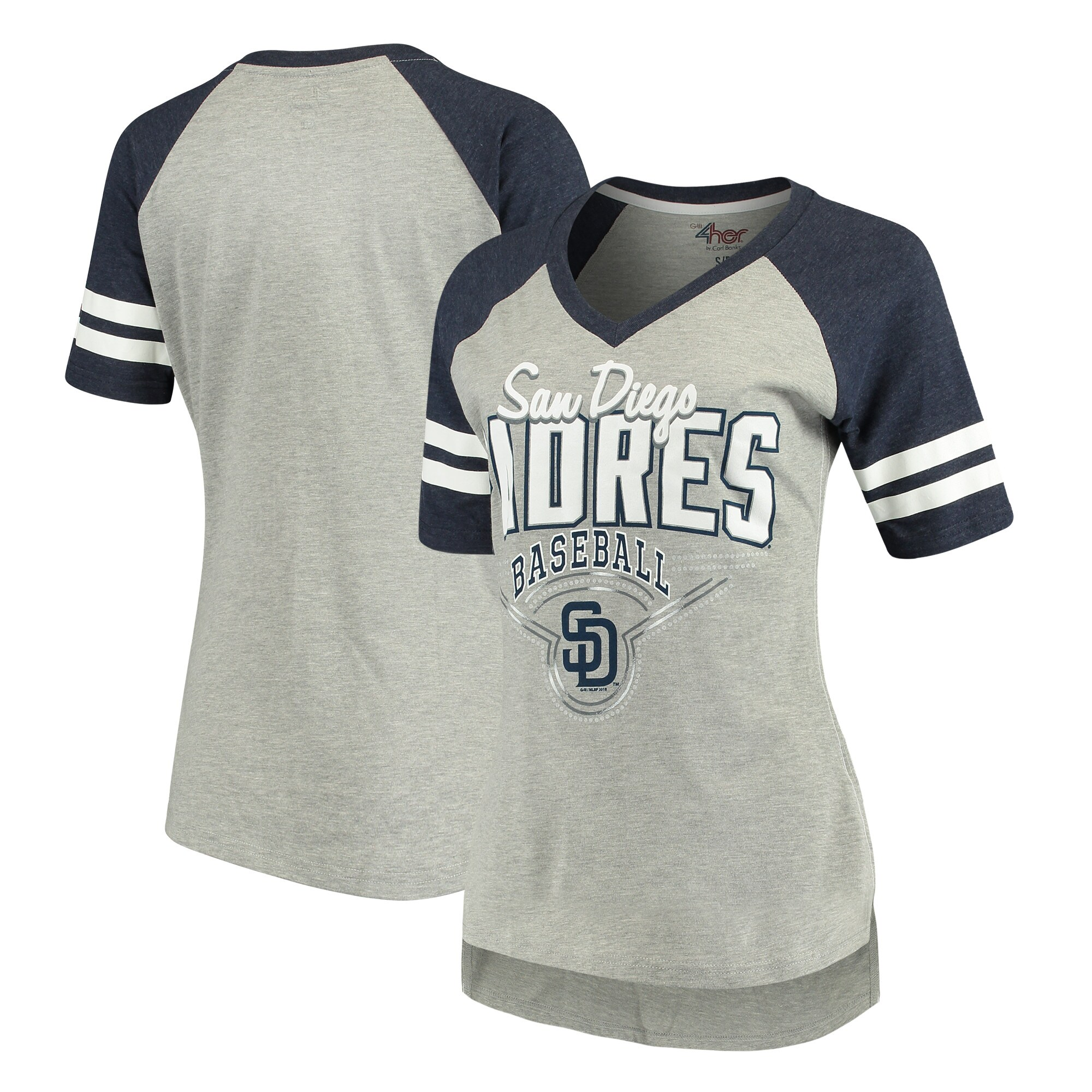 San Diego Padres G-III 4Her by Carl Banks Women's Goal Line T-Shirt - Heathered Gray/Navy