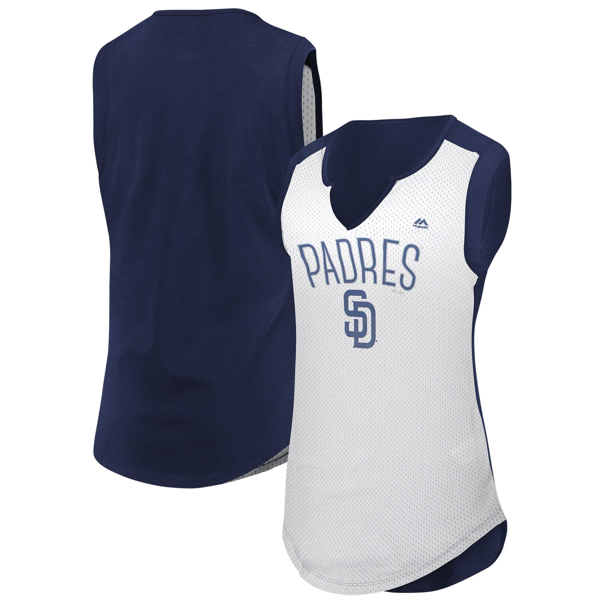San Diego Padres Majestic Women's Decisive Battle Muscle T-Shirt - White