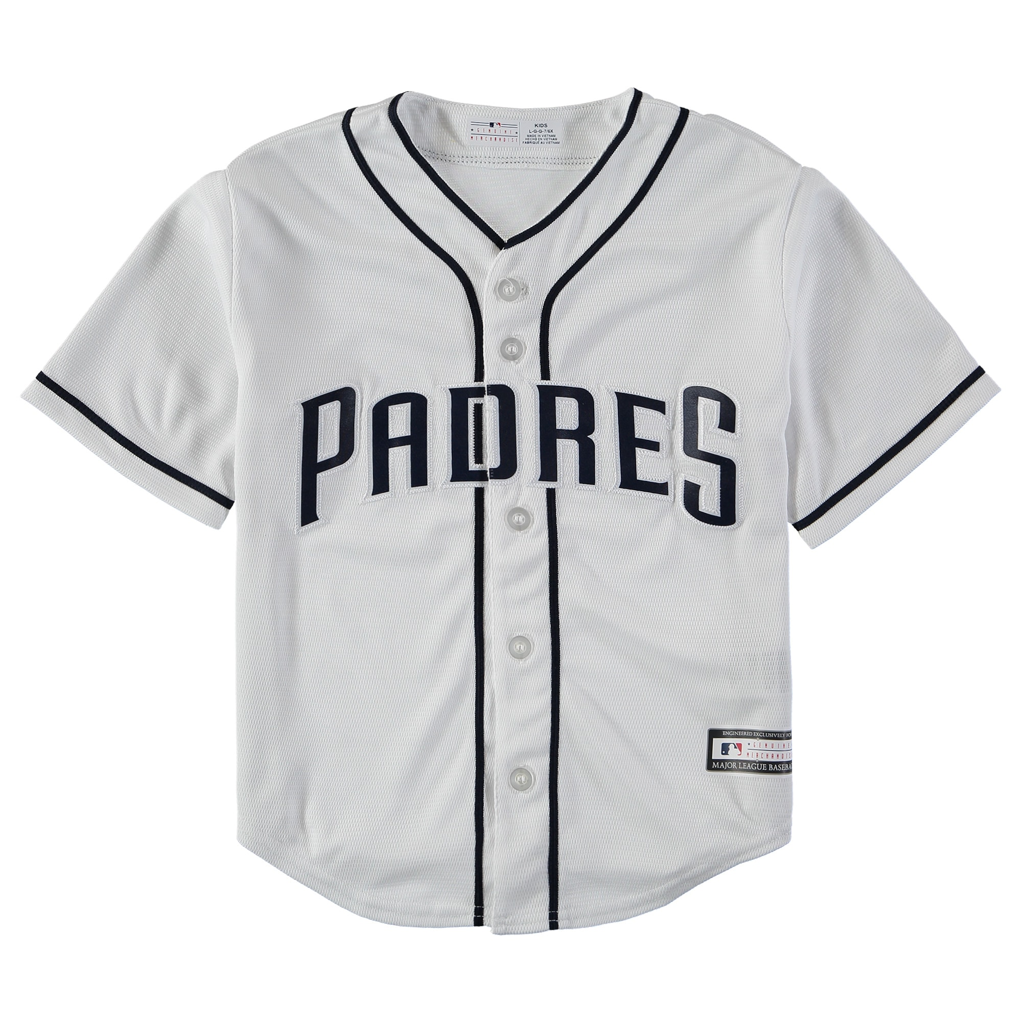 San Diego Padres Youth Home Replica Blank Team Jersey - White