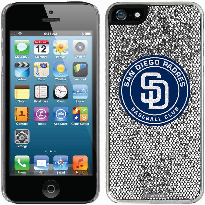 San Diego Padres iPhone 5/5s Bling Thinshield Snap-On Case - Silver