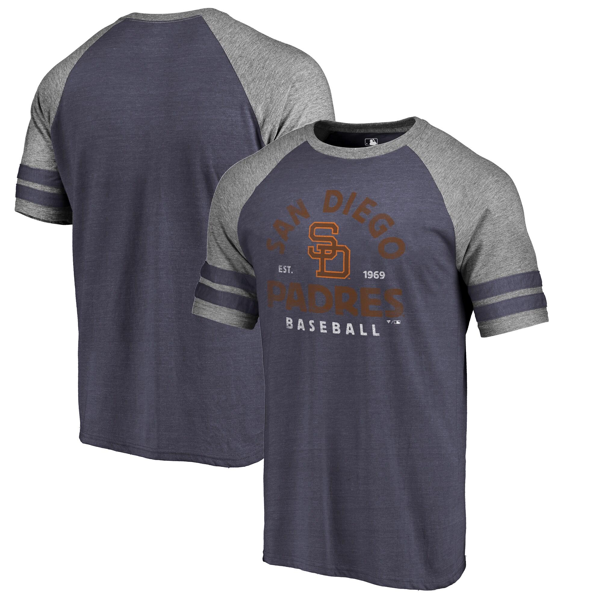 San Diego Padres Fanatics Branded Cooperstown Collection Vintage Arch Tri-Blend Raglan T-Shirt - Navy