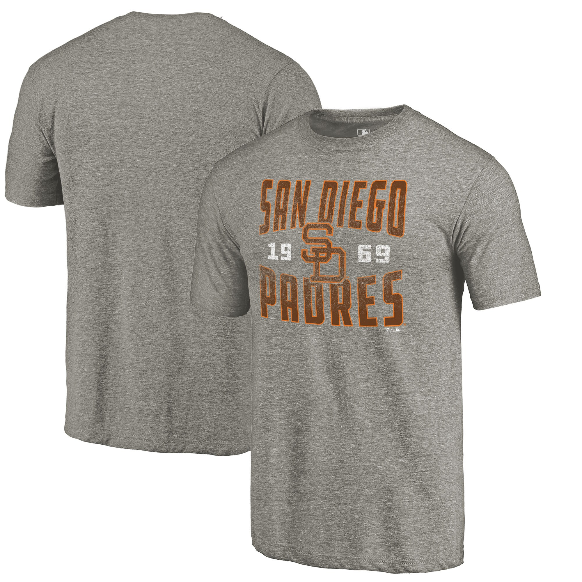 San Diego Padres Fanatics Branded Cooperstown Collection Antique Stack Tri-Blend T-Shirt - Gray