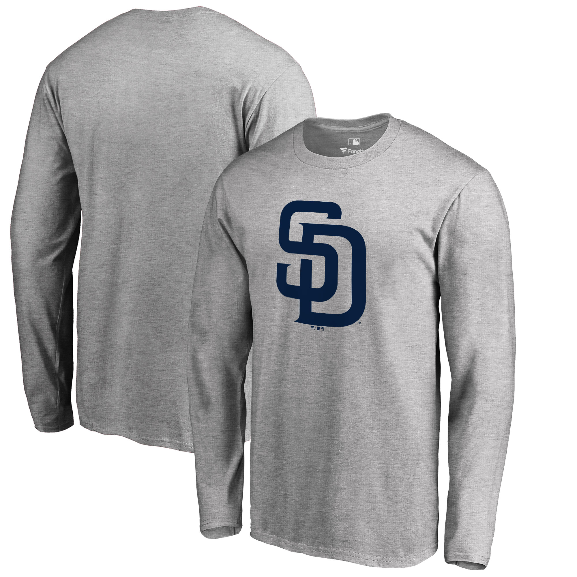 San Diego Padres Big & Tall Primary Team Logo Long Sleeve T-Shirt - Ash