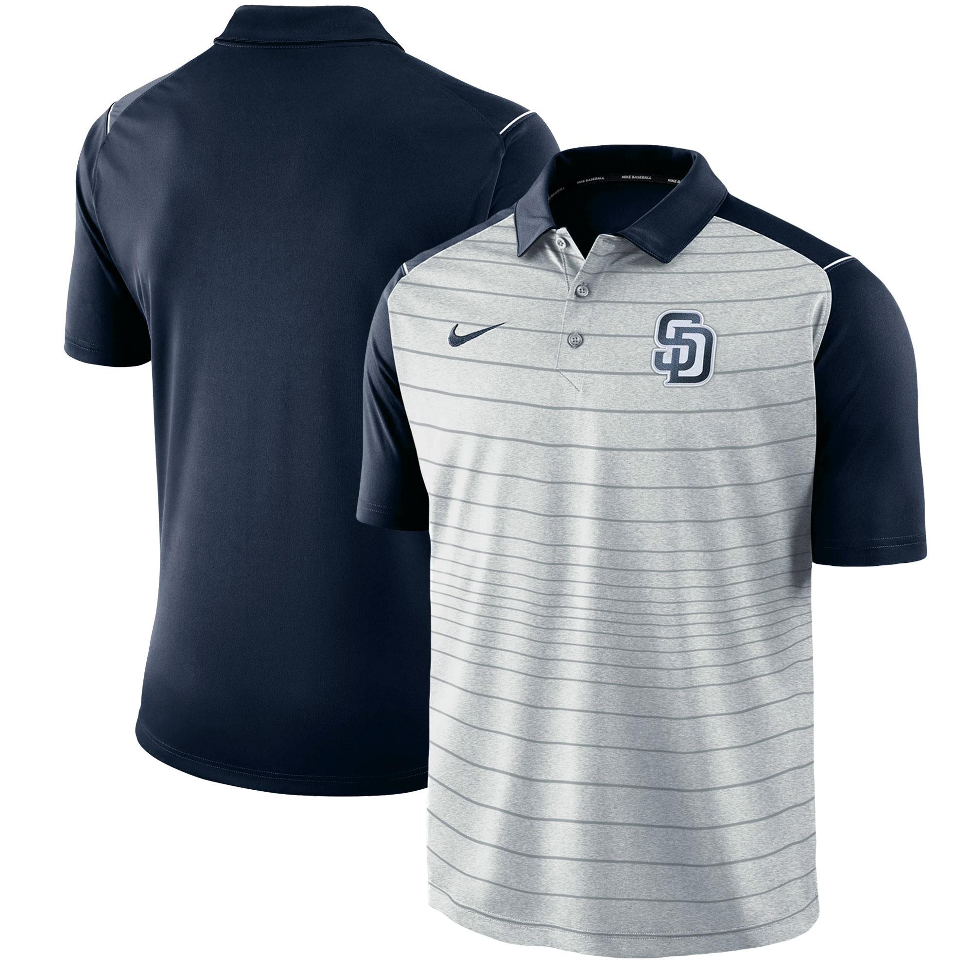 San Diego Padres Nike Stripe Polo - Gray