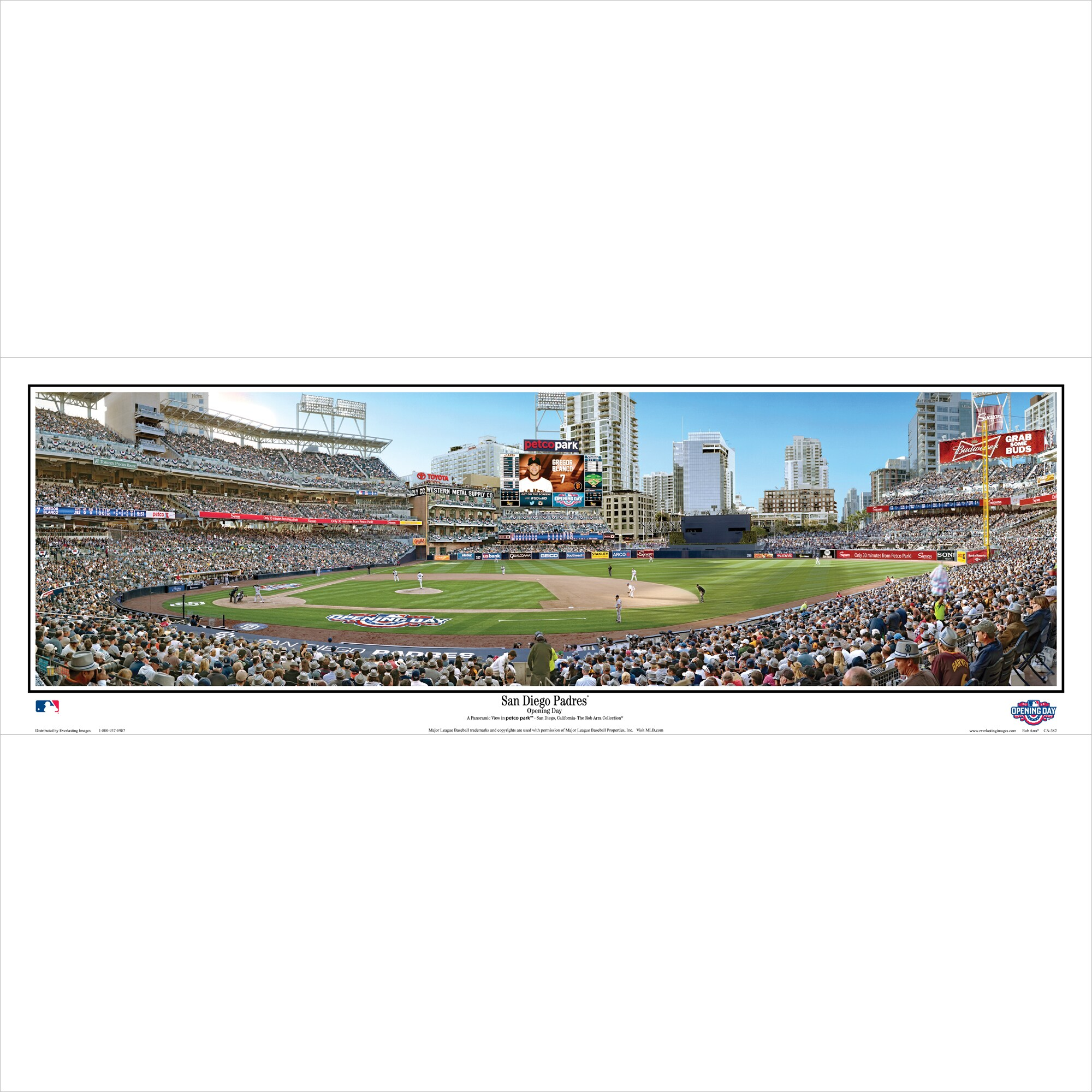 "San Diego Padres 39"" x 13.5"" Opening Day Standard Black Framed Panoramic"
