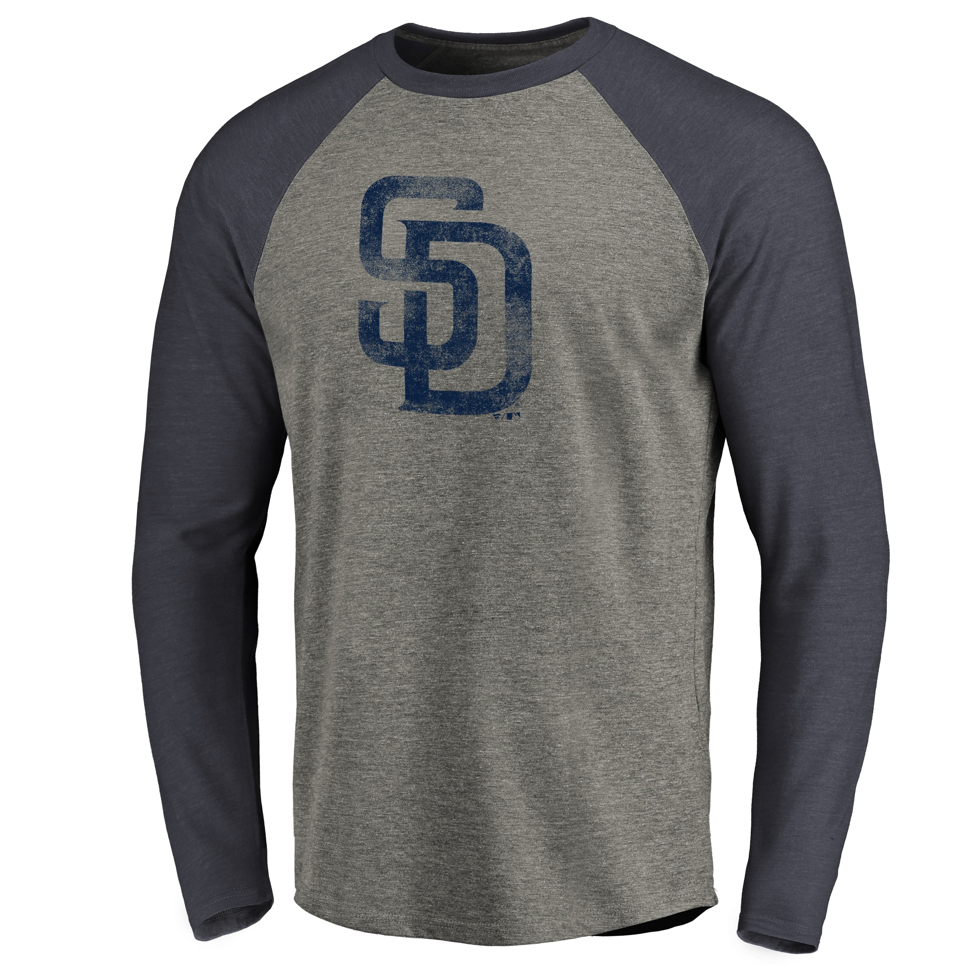 San Diego Padres Distressed Team Raglan Tri-Blend Long Sleeve T-shirt - Ash