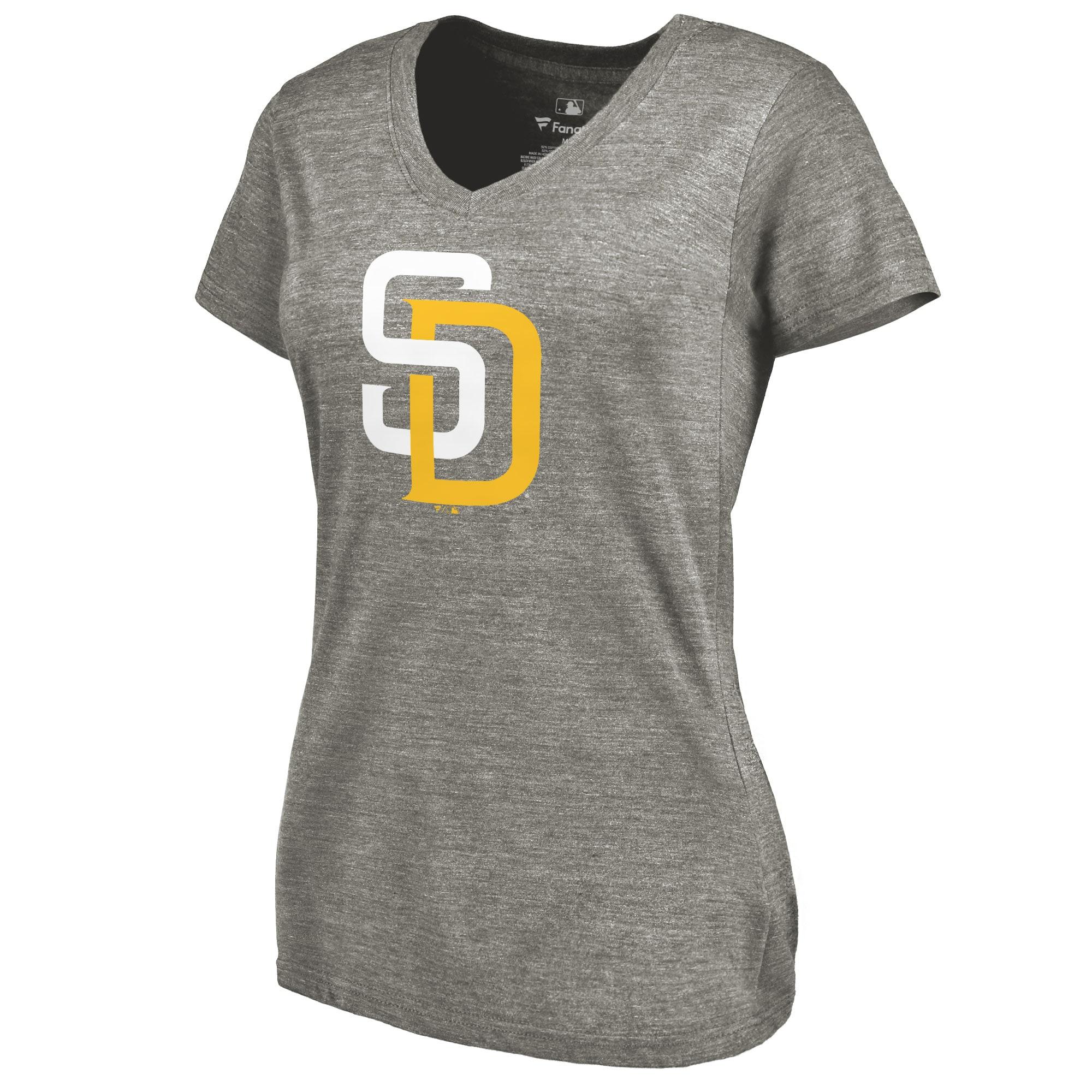 San Diego Padres Women's Primary Logo Tri-Blend V-Neck T-Shirt - Ash