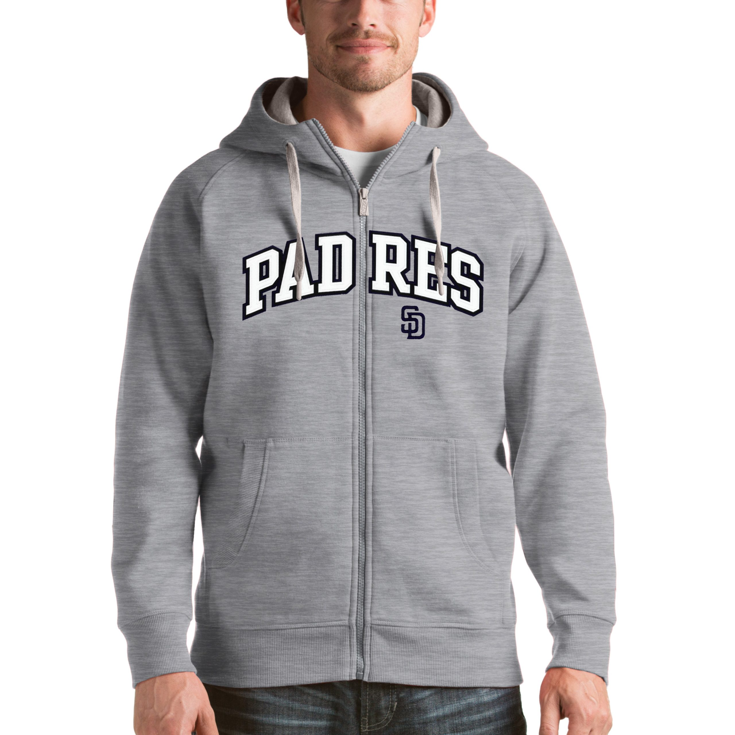 San Diego Padres Antigua Victory Full-Zip Hoodie - Heathered Gray