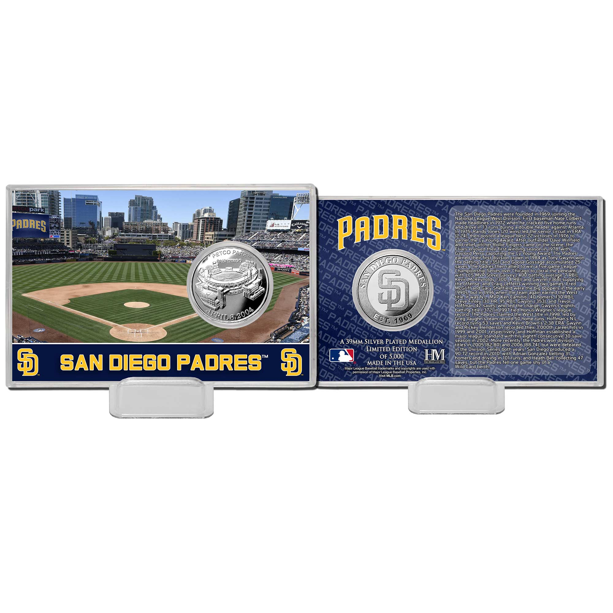 "San Diego Padres Highland Mint 4"" x 6"" Collector Coin Card"