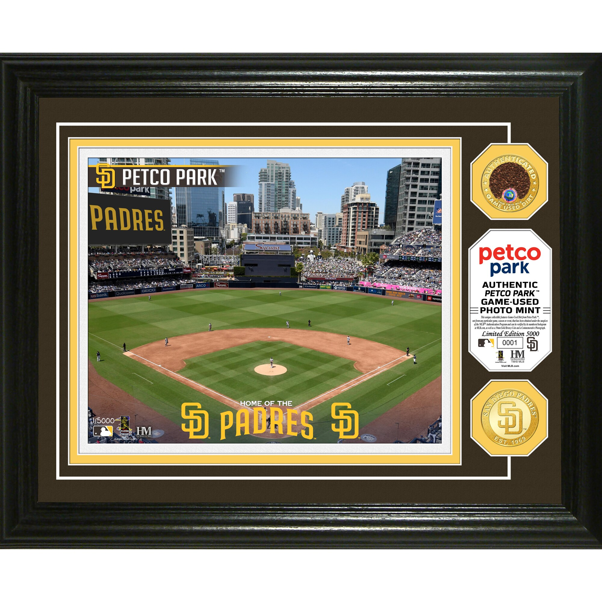 San Diego Padres Highland Mint 13'' x 16'' Dirt Coin Photo Mint