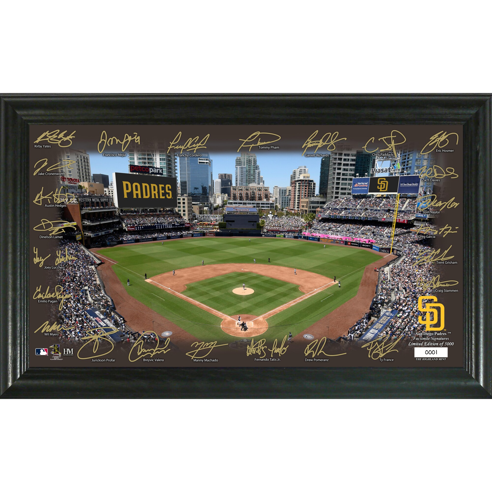 San Diego Padres Highland Mint 12'' x 20'' Signature Field Limited Editon Framed Photo Mint