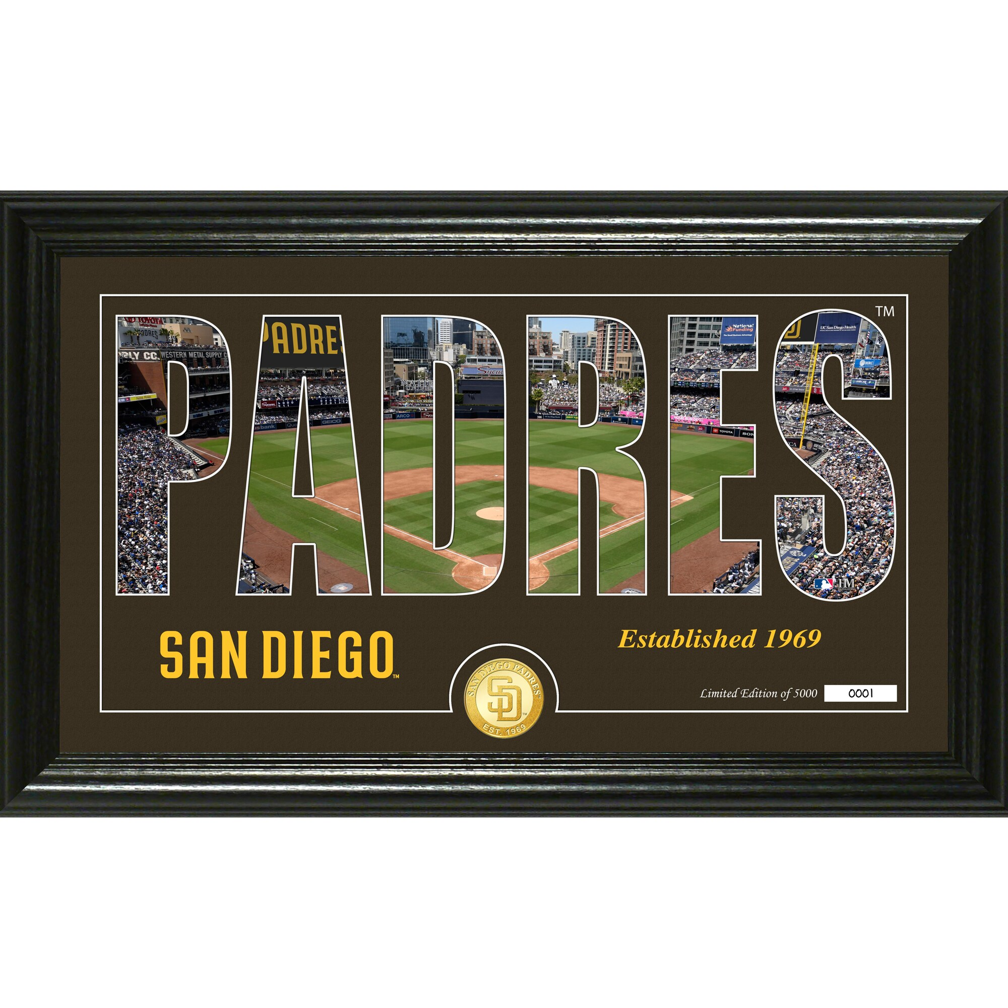 San Diego Padres Highland Mint 12'' x 20'' Silhouette Panoramic Bronze Coin Photo Mint