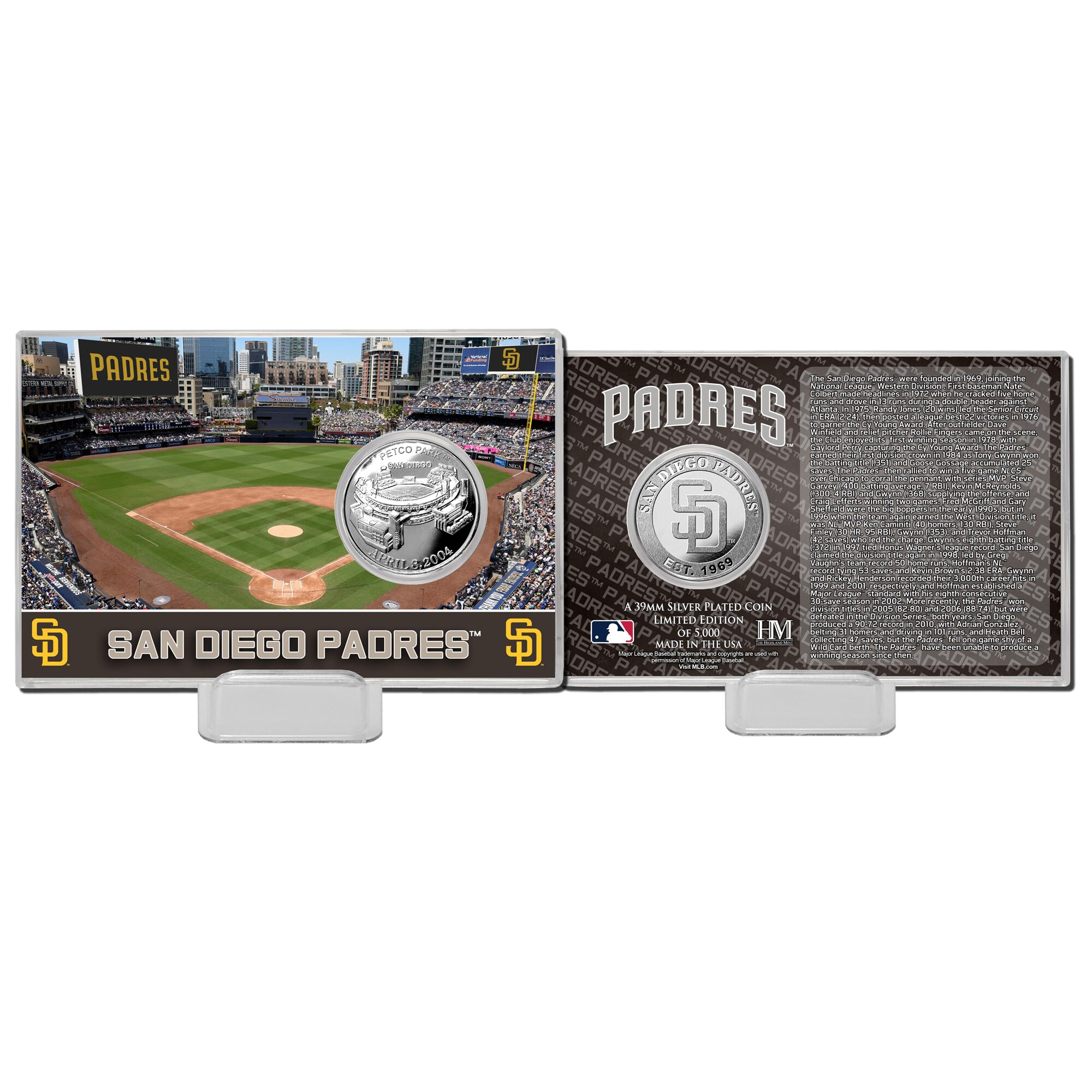 San Diego Padres Highland Mint 4'' x 6'' Silver Coin Card