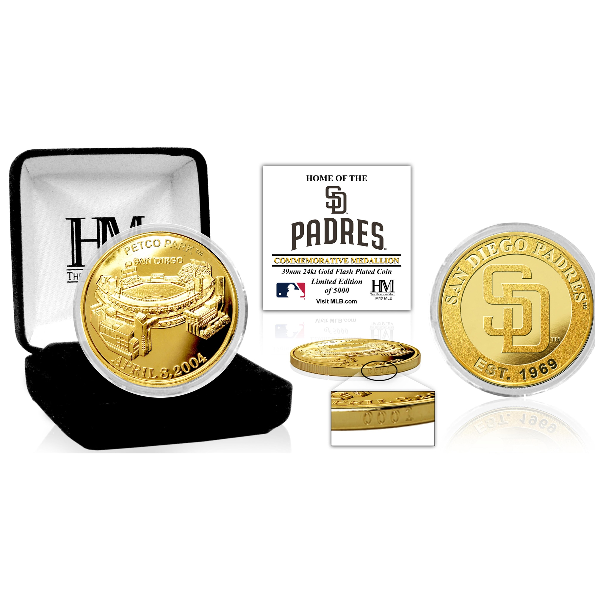 San Diego Padres Highland Mint Stadium Gold Mint Coin