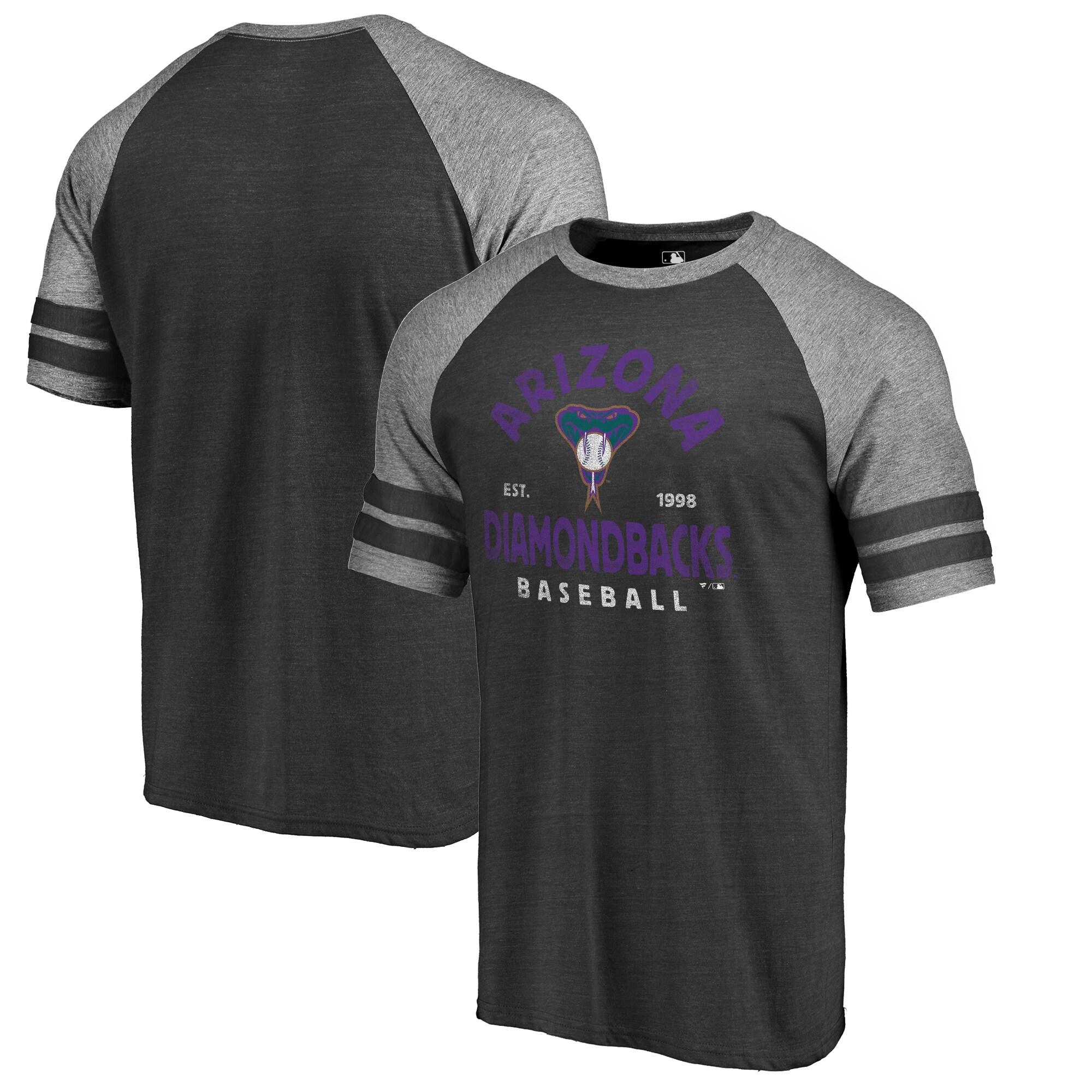 Arizona Diamondbacks Fanatics Branded Cooperstown Collection Vintage Arch Tri-Blend Raglan T-Shirt - Black