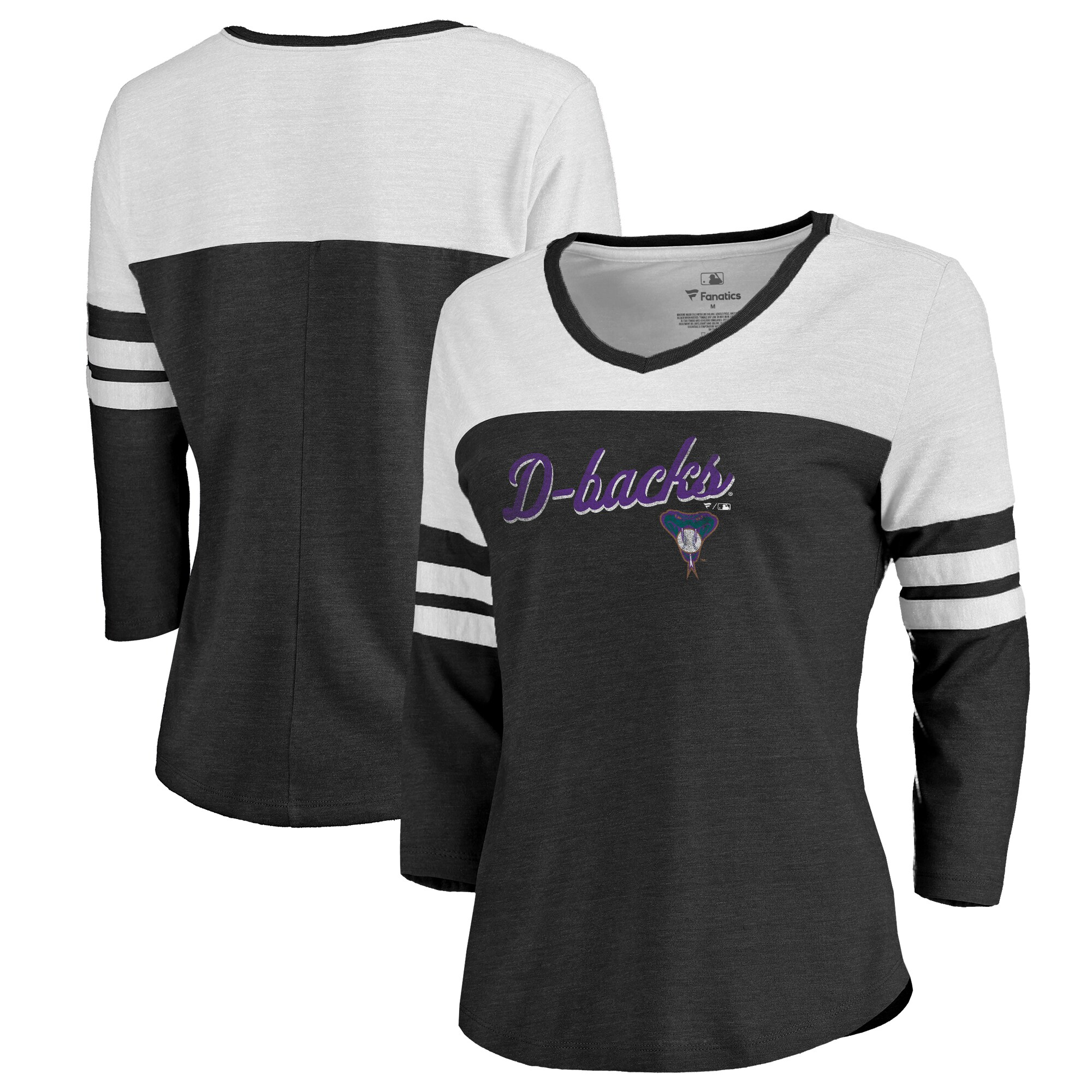 Fanatics Branded Arizona Diamondbacks Women's Black Rising Script Color Block 3/4 Sleeve Tri-Blend T-Shirt