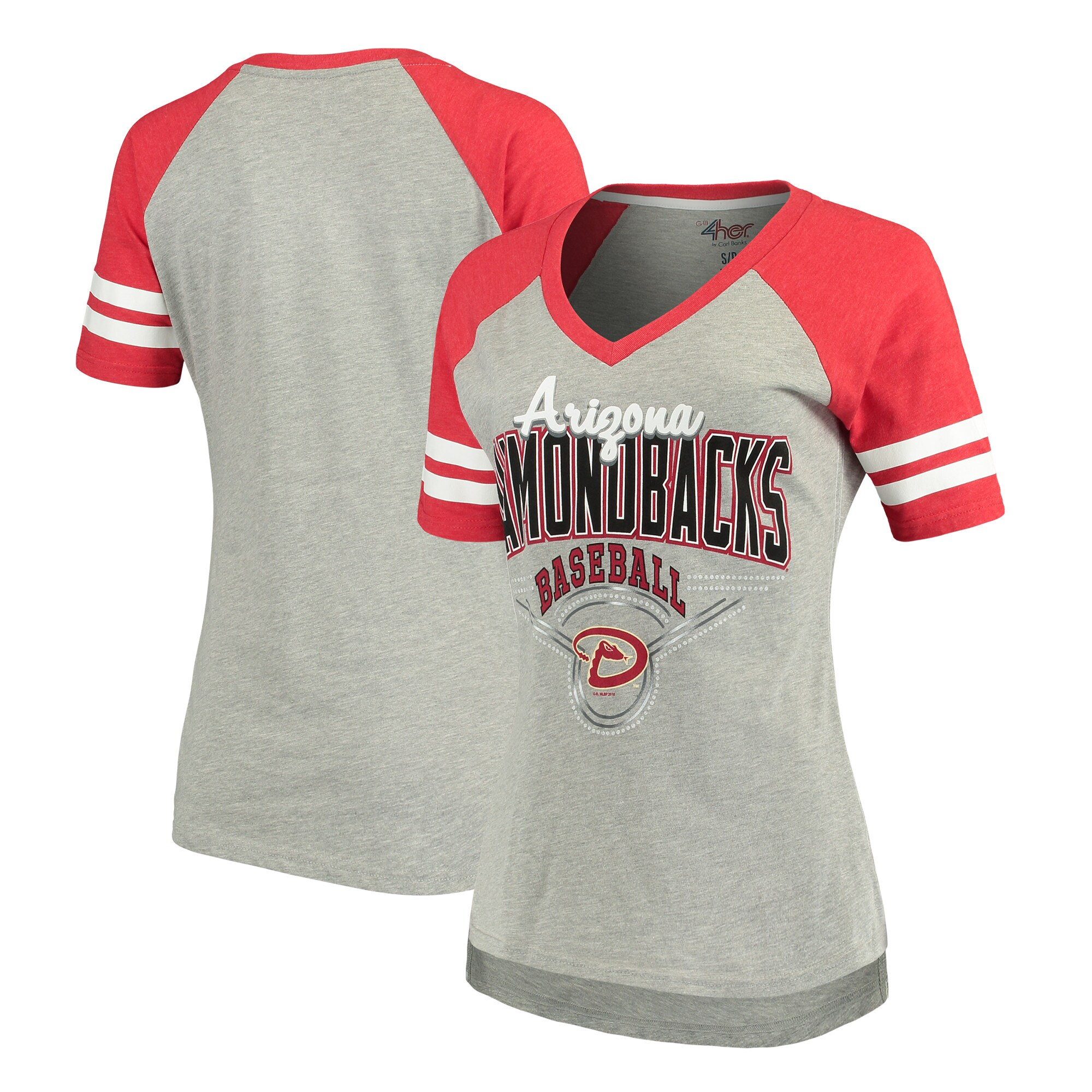 Arizona Diamondbacks G-III 4Her by Carl Banks Women's Goal Line T-Shirt - Heathered Gray/Red