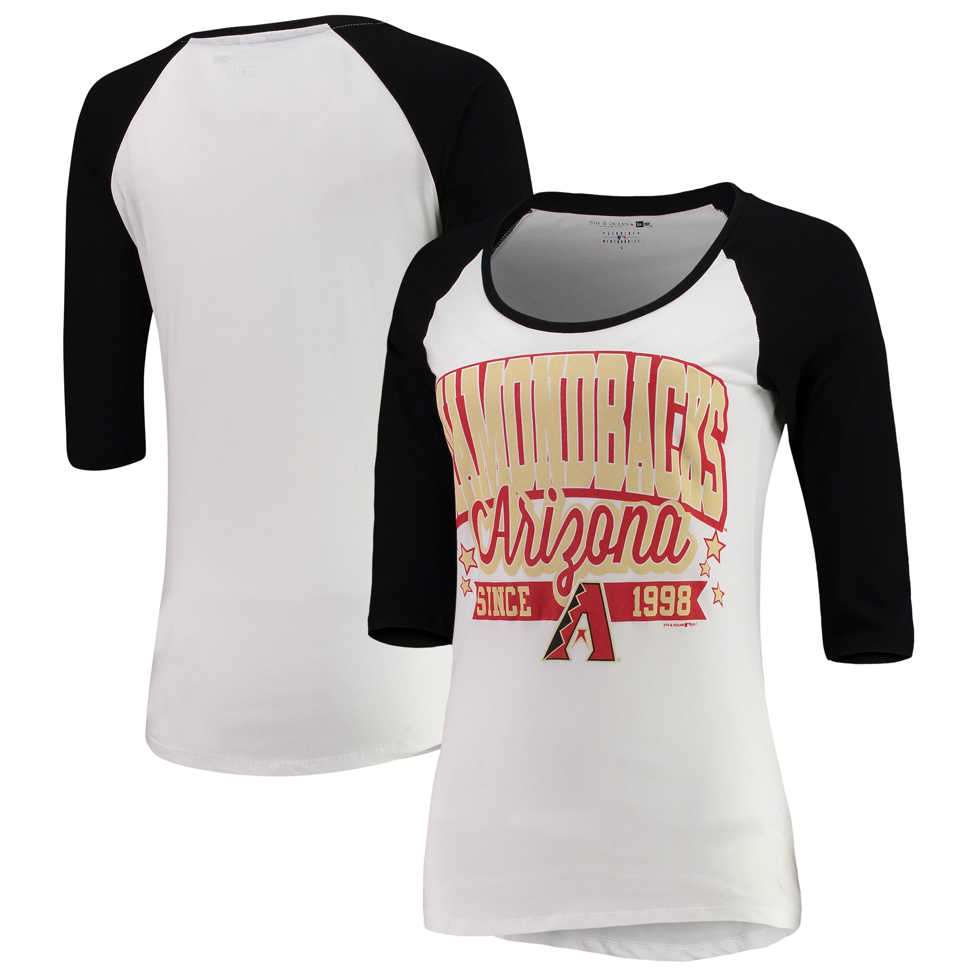 Arizona Diamondbacks 5th & Ocean by New Era Women's Team Banner 3/4-Sleeve Raglan T-Shirt - White/Black