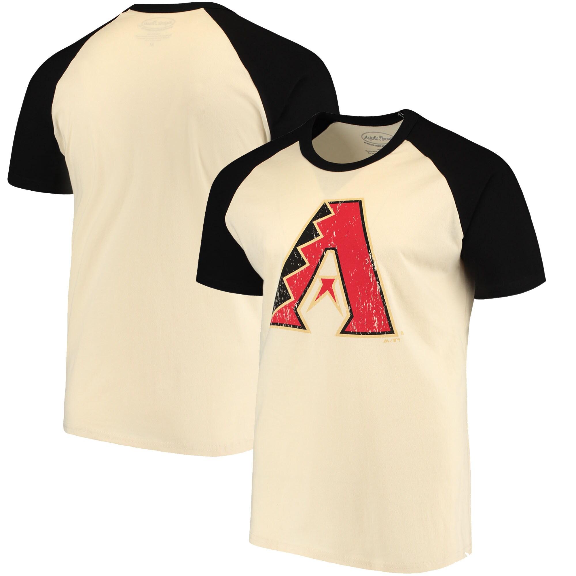 Arizona Diamondbacks Majestic Threads Softhand Raglan T-Shirt - Cream/Black