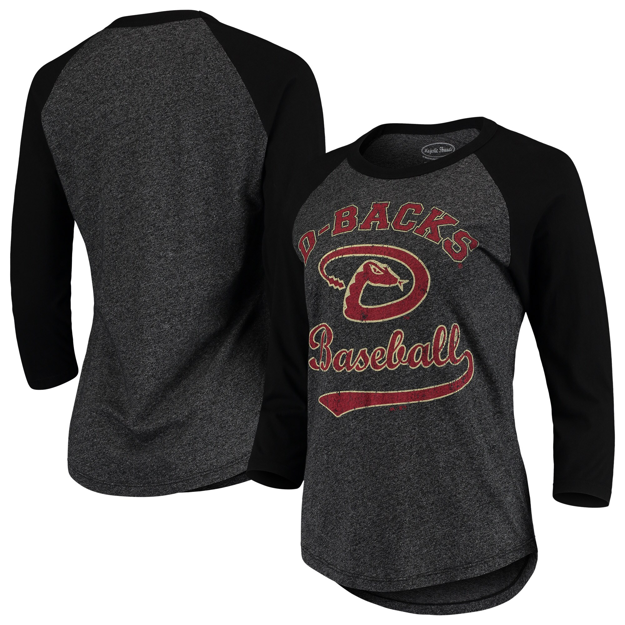Arizona Diamondbacks Majestic Threads Women's Team Baseball Three-Quarter Raglan Sleeve Tri-Blend T-Shirt - Black