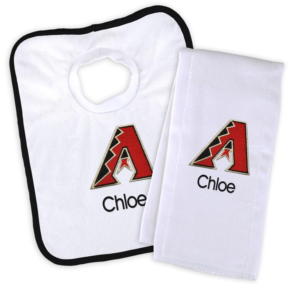 Arizona Diamondbacks Newborn & Infant Personalized Bib & Burp Cloth Set - White