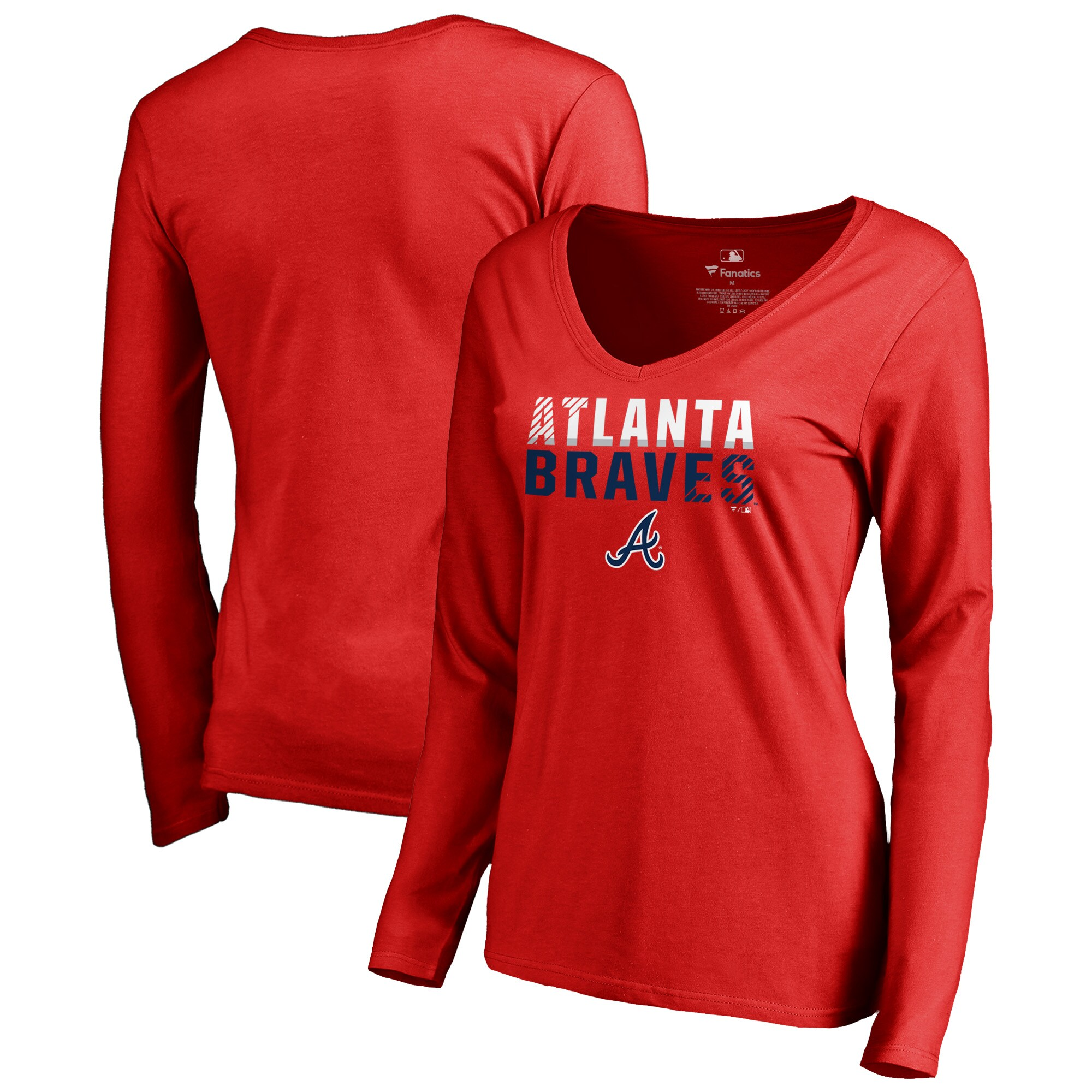 Atlanta Braves Fanatics Branded Women's Fade Out V-Neck Long Sleeve T-Shirt - Red