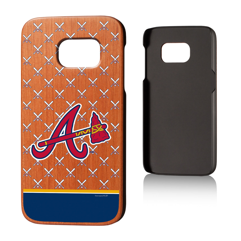 Atlanta Braves Galaxy S7 Stripe Cherry Wood Case