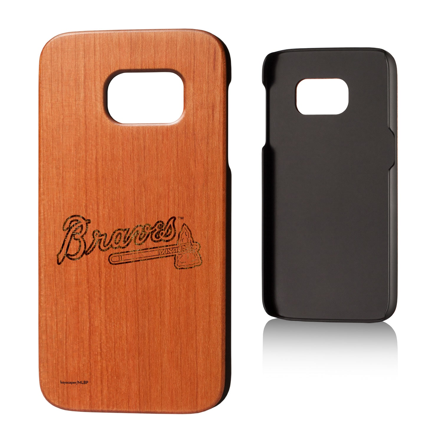 Atlanta Braves Galaxy S7 Branded Logo Cherry Wood Case