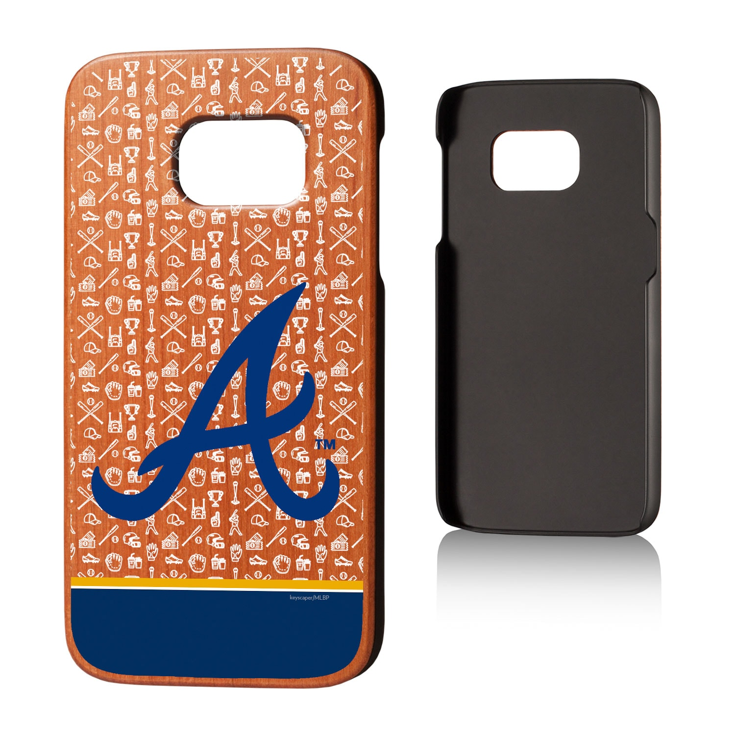 Atlanta Braves Galaxy S7 Stripe Logo Cherry Wood Case