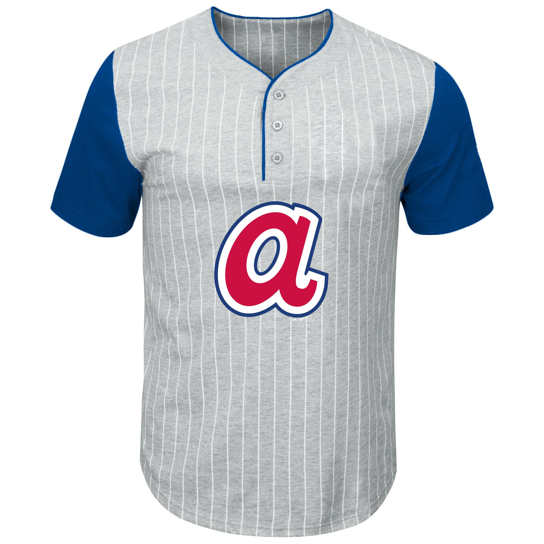 Atlanta Braves Majestic Big & Tall Cooperstown Collection Pinstripe Henley Raglan T-Shirt - Gray/Royal
