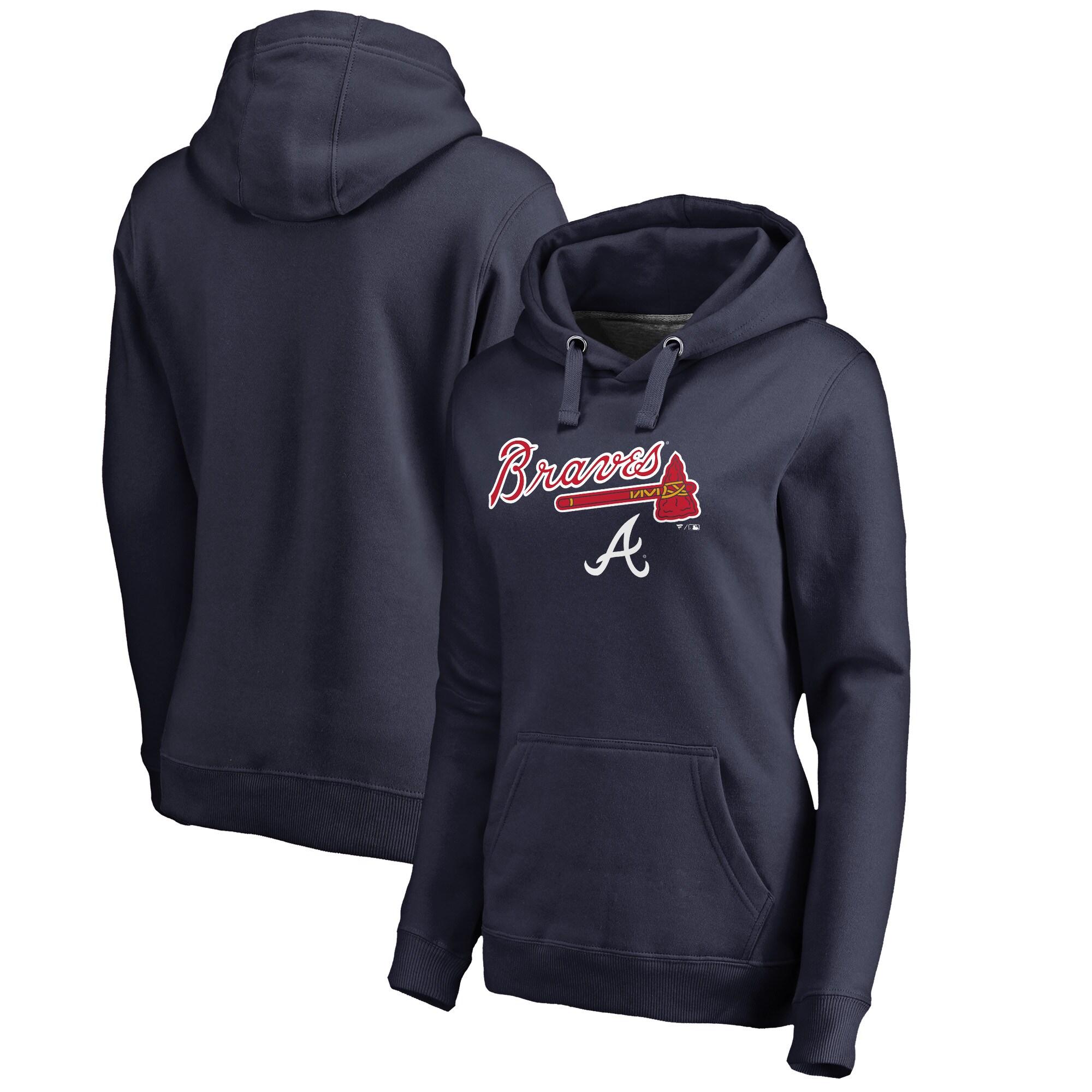 Atlanta Braves Fanatics Branded Women's Team Lockup Pullover Hoodie - Navy