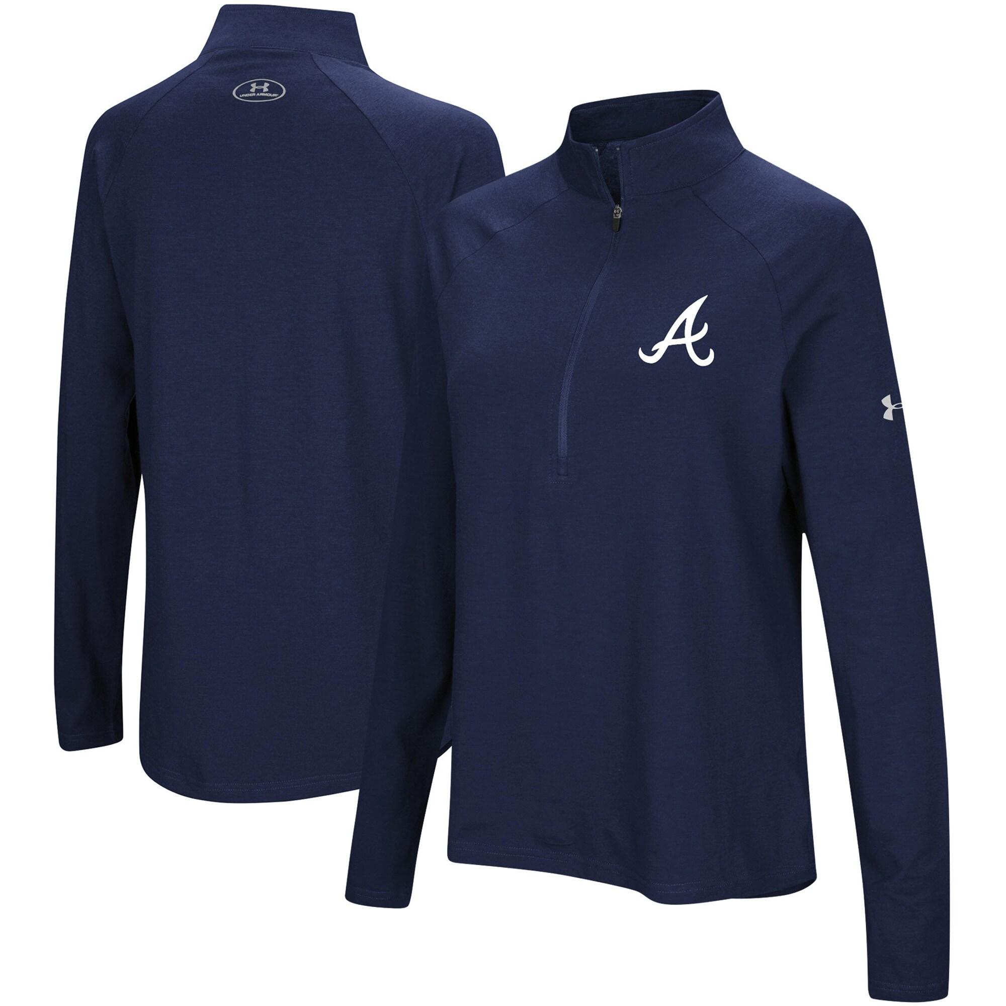 Atlanta Braves Under Armour Women's Passion Performance Tri-Blend Raglan Half-Zip Pullover Jacket - Navy