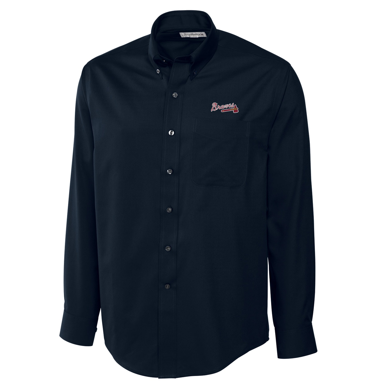 Atlanta Braves Cutter & Buck Big & Tall Epic Easy Care Fine Twill Long Sleeve Shirt - Navy