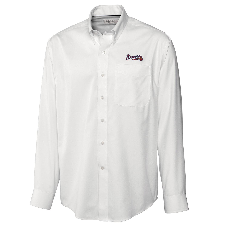 Atlanta Braves Cutter & Buck Big & Tall Epic Easy Care Fine Twill Long Sleeve Shirt - White