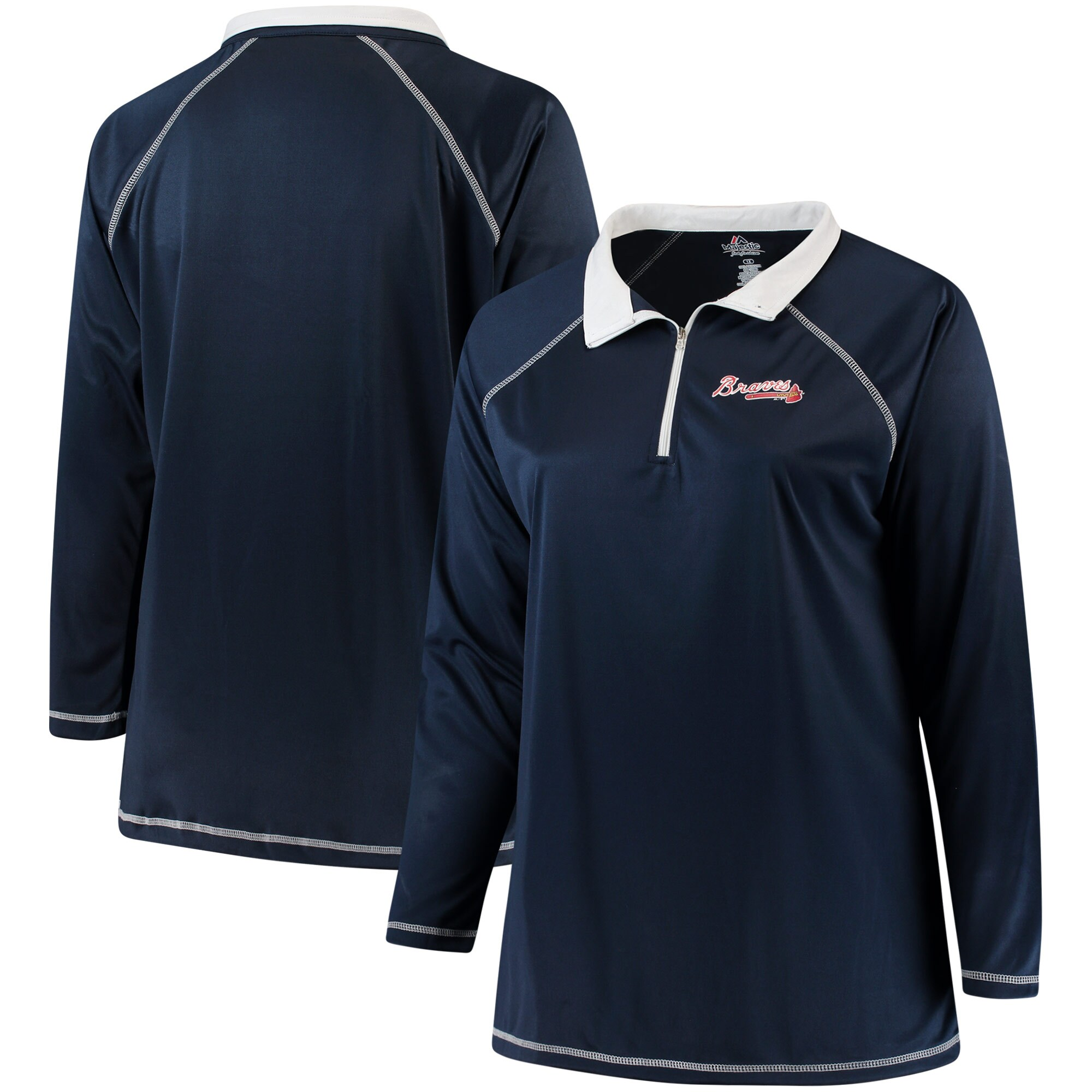 Atlanta Braves Majestic Women's Plus Size Quarter-Zip Pullover Jacket - Navy