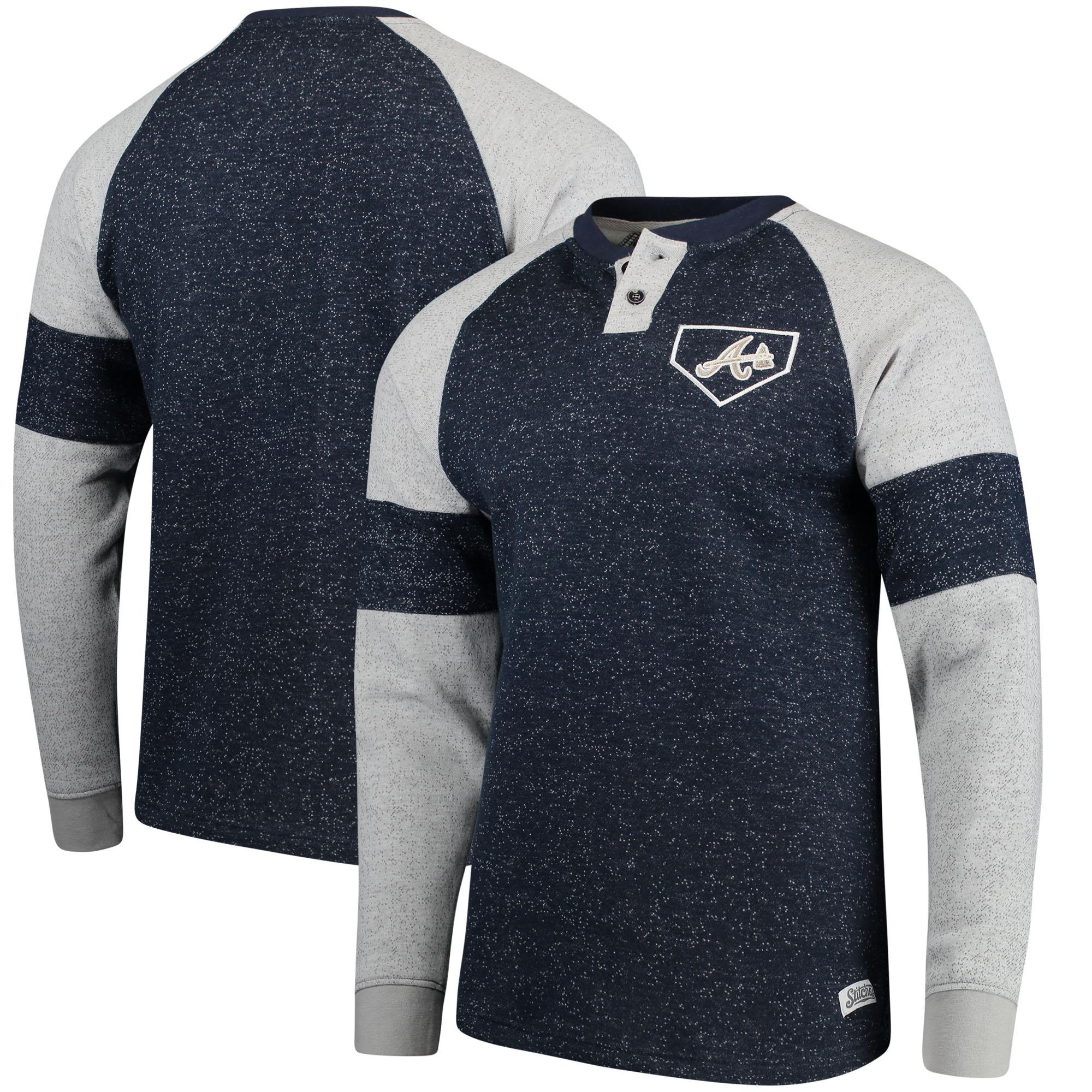 Atlanta Braves Stitches Twisted Yarn Henley Long Sleeve T-Shirt - Navy