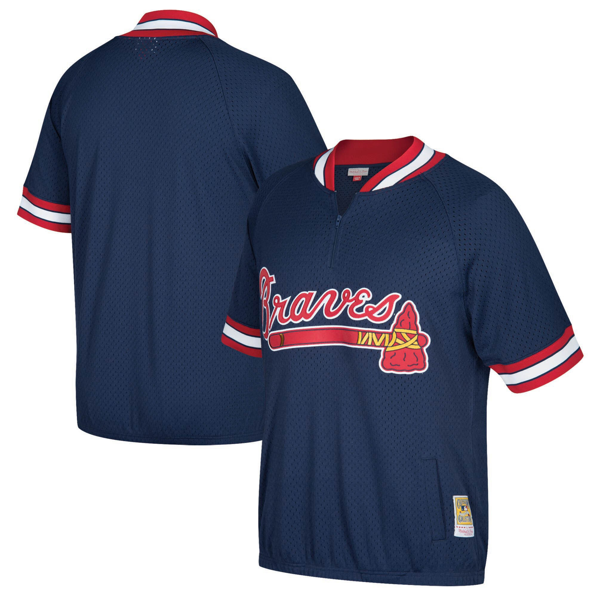 Atlanta Braves Mitchell & Ness Cooperstown Collection Mesh Batting Practice Quarter-Zip Jersey - Navy