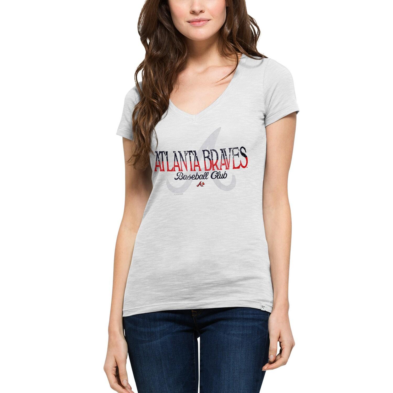 Atlanta Braves '47 Women's Stars & Stripes Scrum V-Neck T-Shirt - White