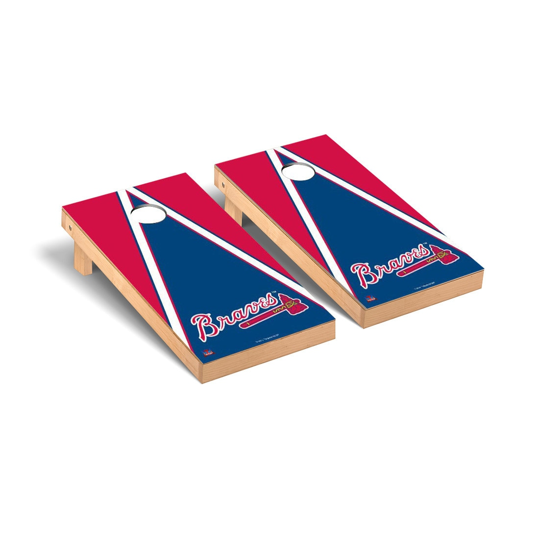 Atlanta Braves 2' x 4' Triangle Cornhole Board Tailgate Toss Set