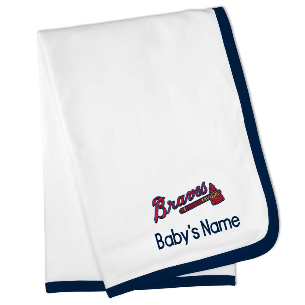 Atlanta Braves Personalized Baby Blanket - White