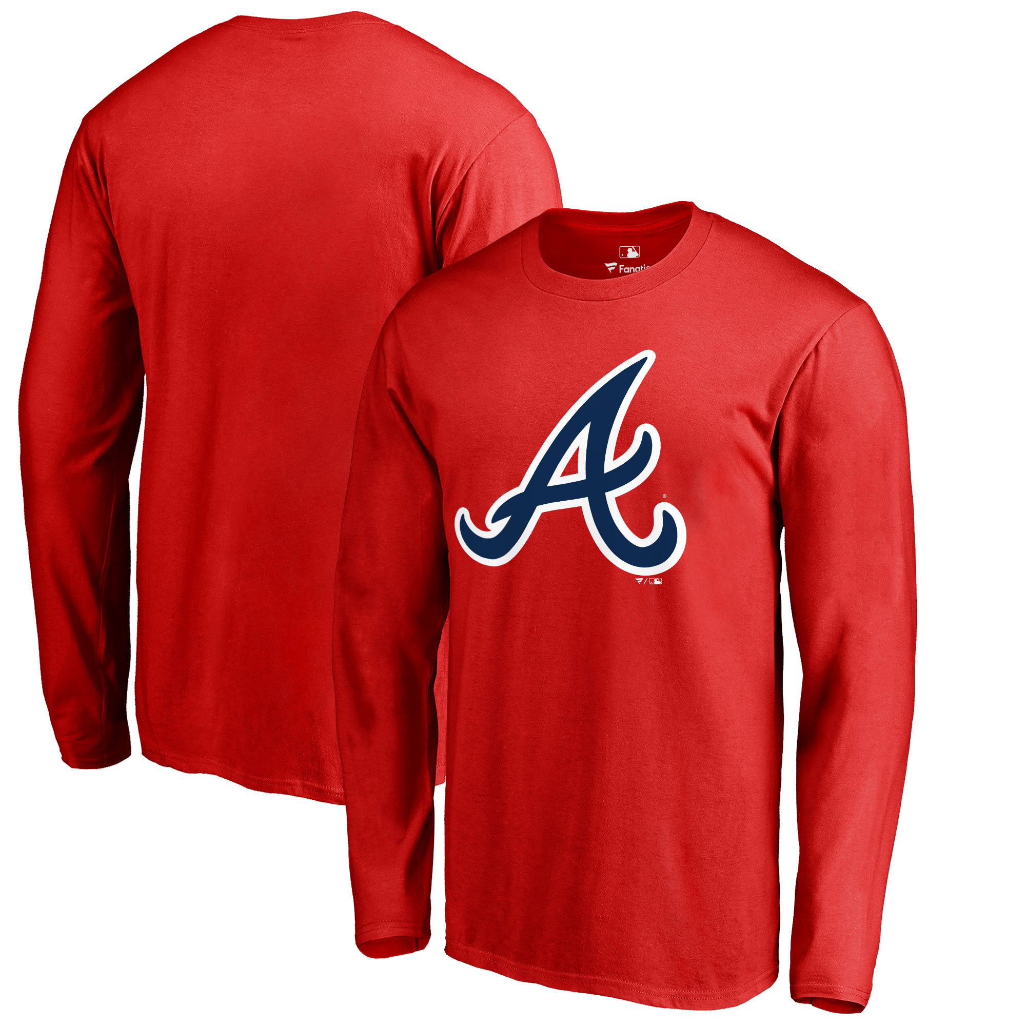 Atlanta Braves Big & Tall Primary Team Logo Long Sleeve T-Shirt - Red