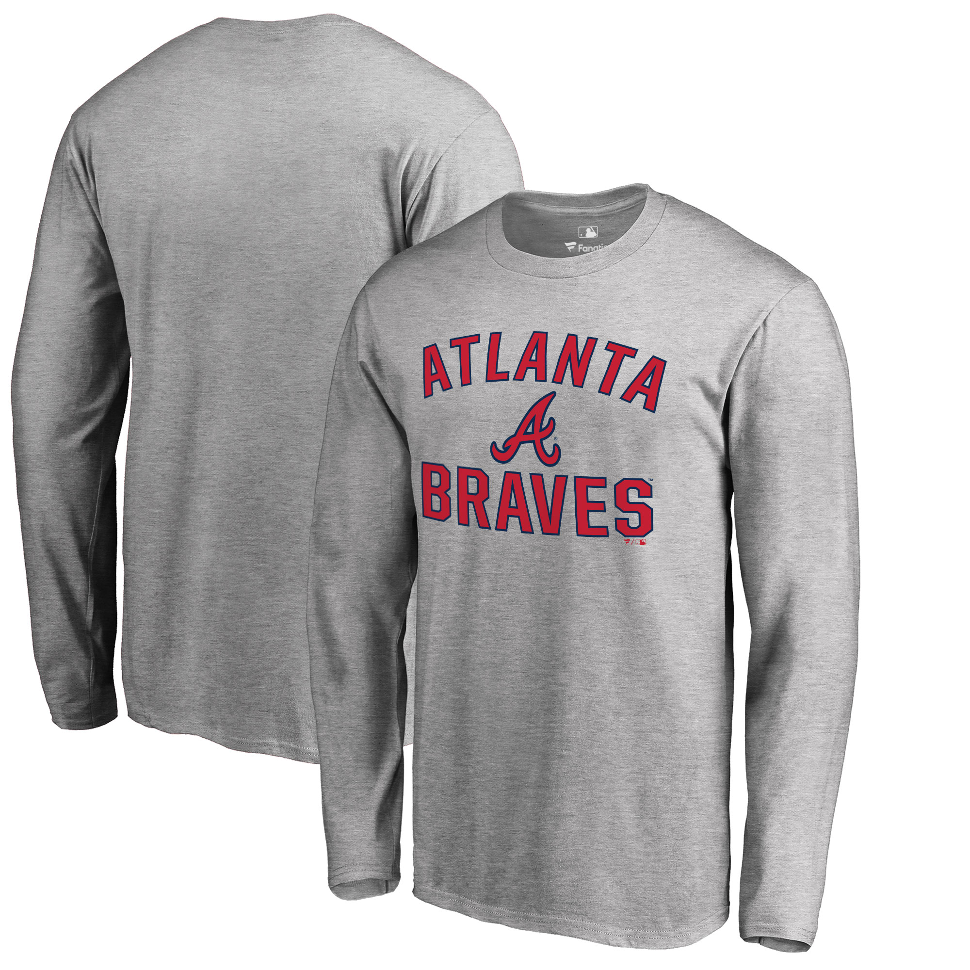 Atlanta Braves Big & Tall Victory Arch Long Sleeve T-Shirt - Ash