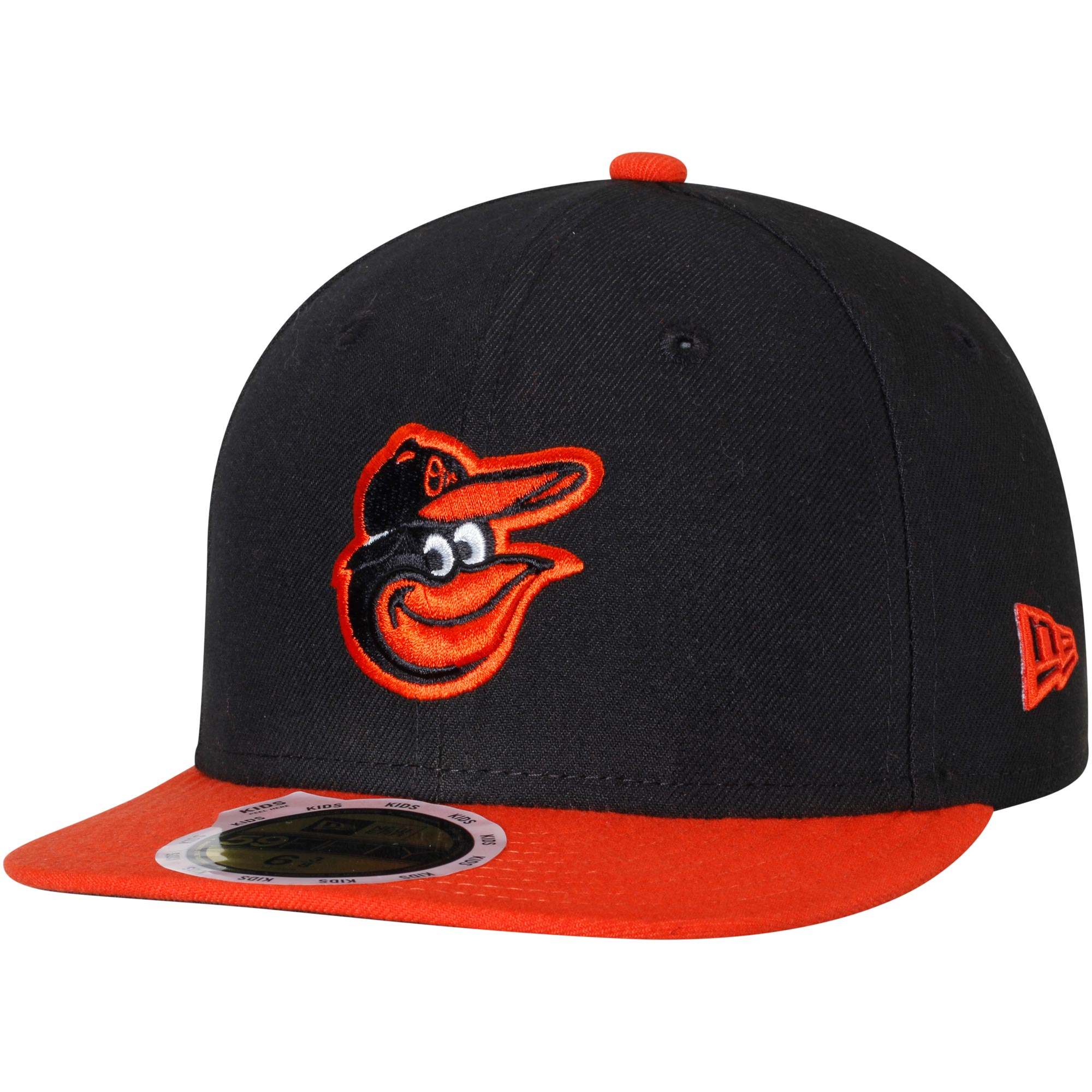 Baltimore Orioles New Era Youth Authentic Collection On-Field Road 59FIFTY Fitted Hat - Black/Orange