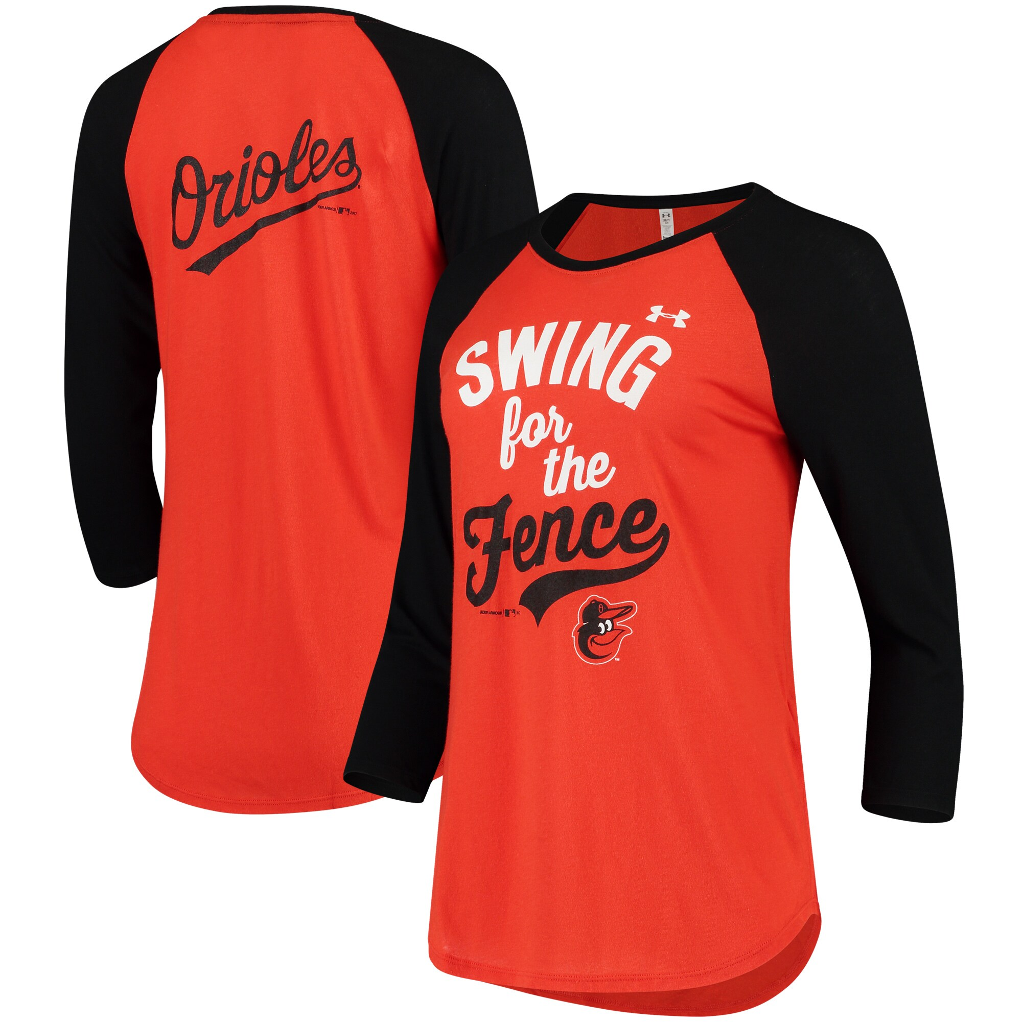 Baltimore Orioles Under Armour Women's Baseball 3/4-Sleeve Performance T-Shirt - Orange/Black